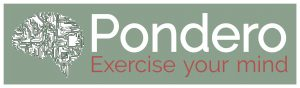 Words saying Pondero, Exercise your mind and an image of a brain as neural connections
